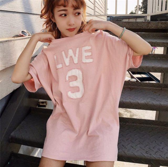 粉色字母棉質短袖 可單穿 洋裝