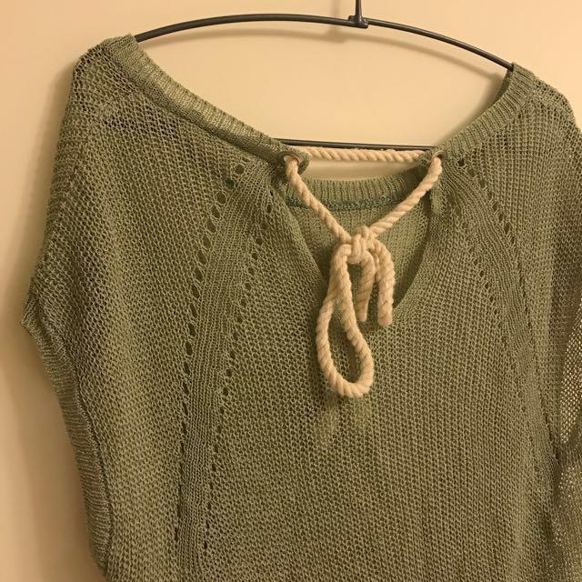 正韓 洞洞綁帶前短後長上衣  #我的女裝可超取