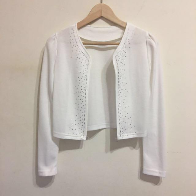 純白前燙鑽長袖開襟外套 罩衫 #我的女裝可超取