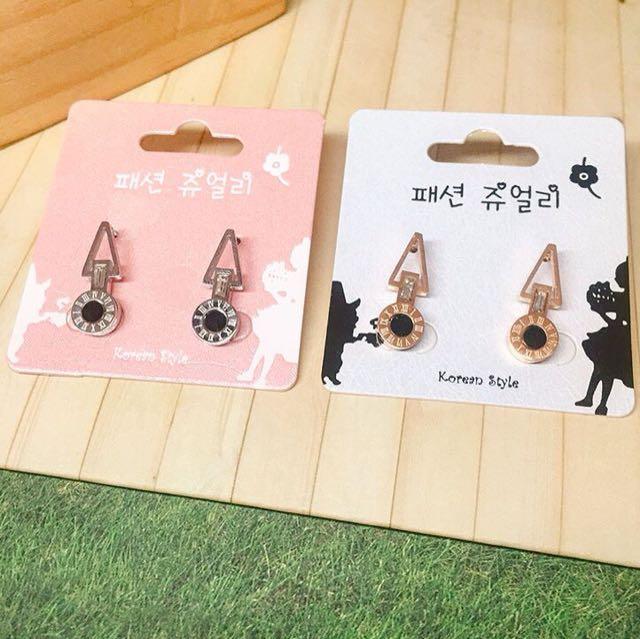 韓國耳環耳針 不鏽鋼 個性耳環耳針 羅馬文字
