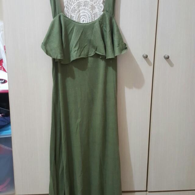 *墨綠色 顯瘦 長裙 連身裙 翡翠綠 有腰身 裙子