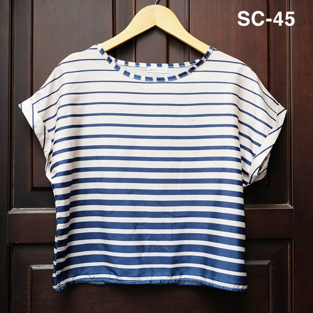 ( Prelove ) Stripe White blue Blouse / Atasan / Top
