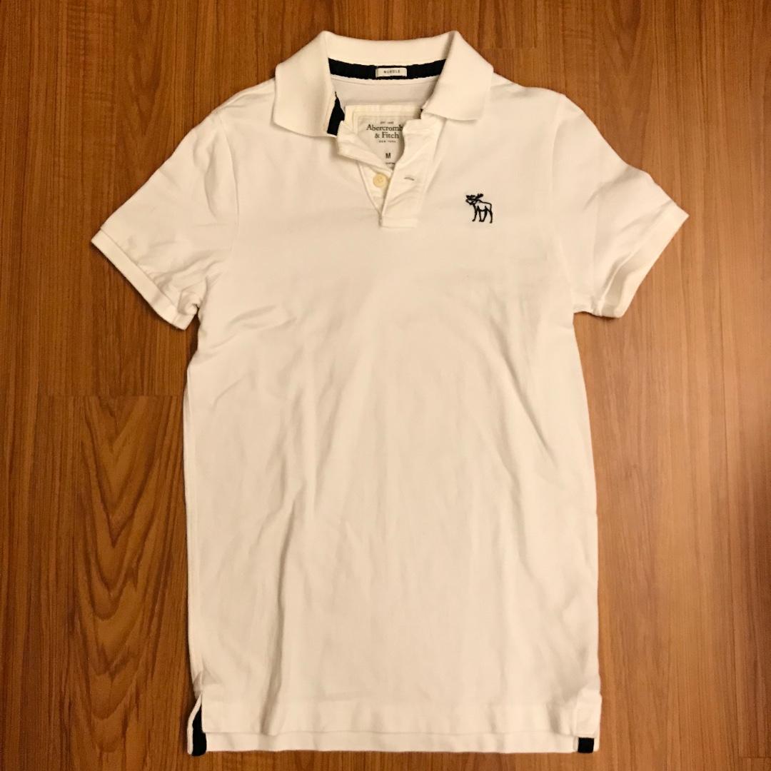 Abercrombie & Fitch POLO 短袖 上衣 白色 經典 麋鹿 M號
