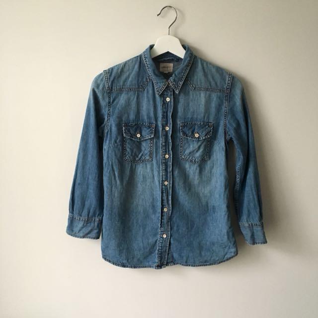 Aritzia Wilfred free denim shirt button down size xs