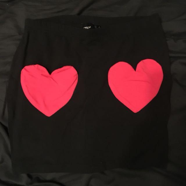 ASOS black heart pockets mini skirt size 6
