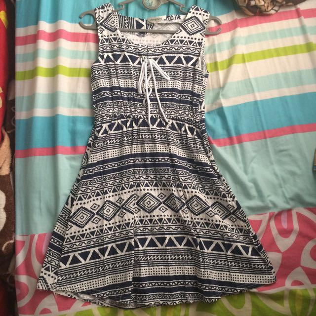 Aztec Black & White Skater Dress