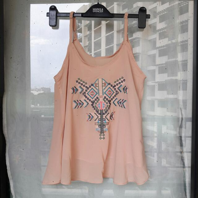 Aztec Embroidered Chiffon Top