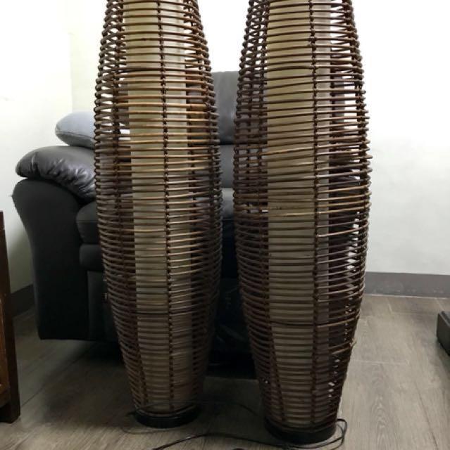 Bamboo floor lamps pair