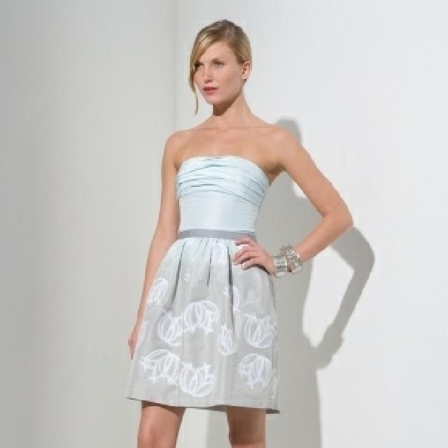 BCBG MAXAZRIA Strapless Jacquard Cocktail Dress (Light Blue)