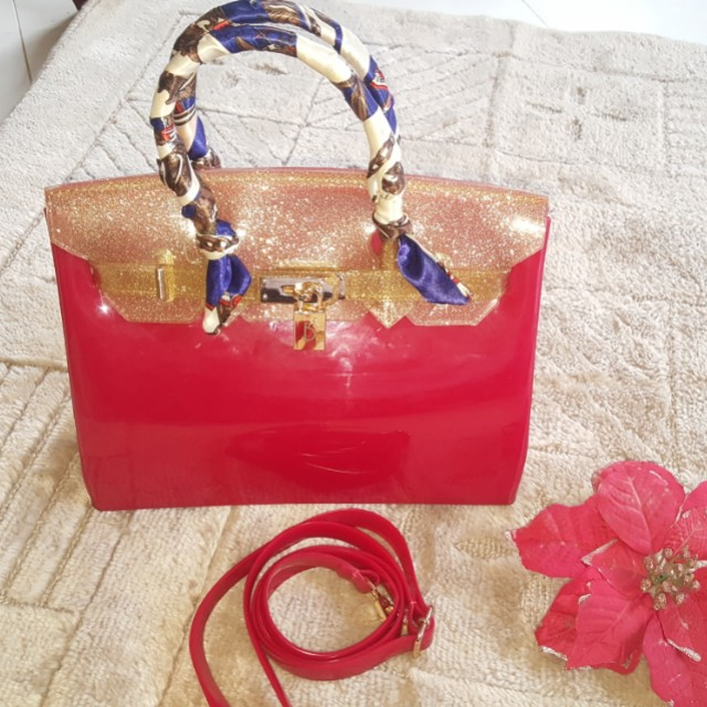 Beachkins bag glossy gliterry Red