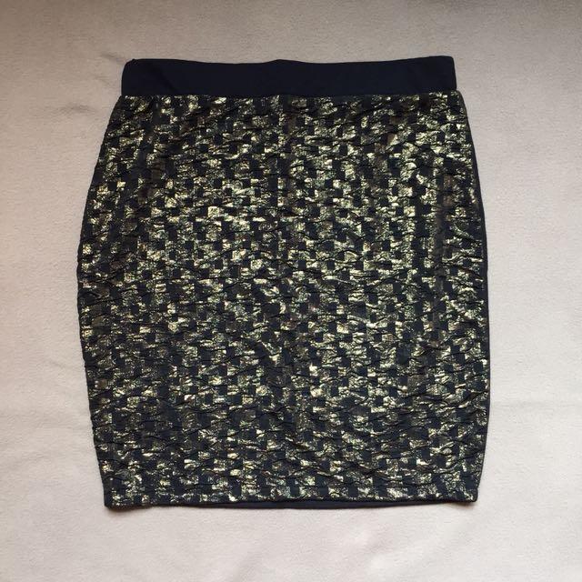 Black and Gold Bandage Skirt