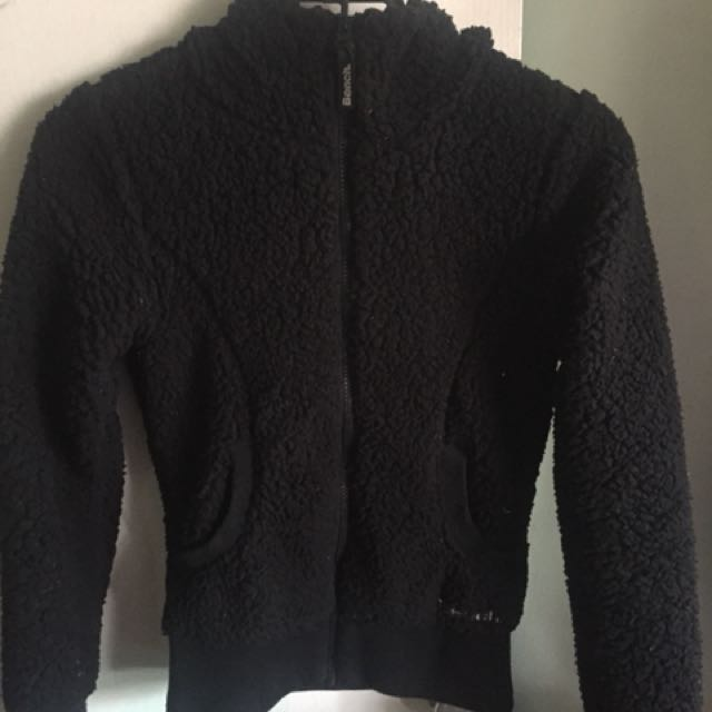 Black bench fuzzy sweater