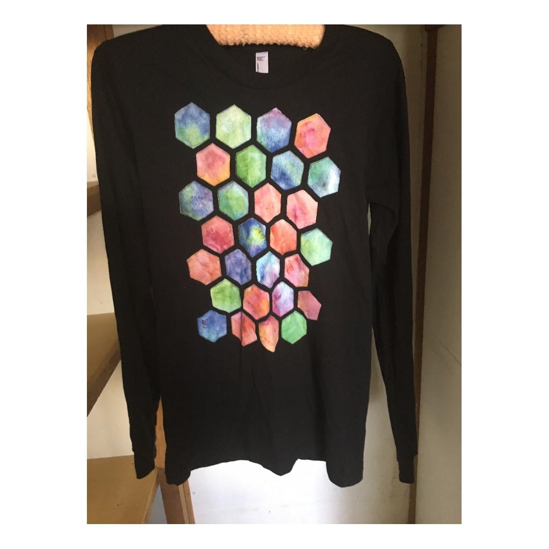 black long sleeve shirt with brick layered octagon print small