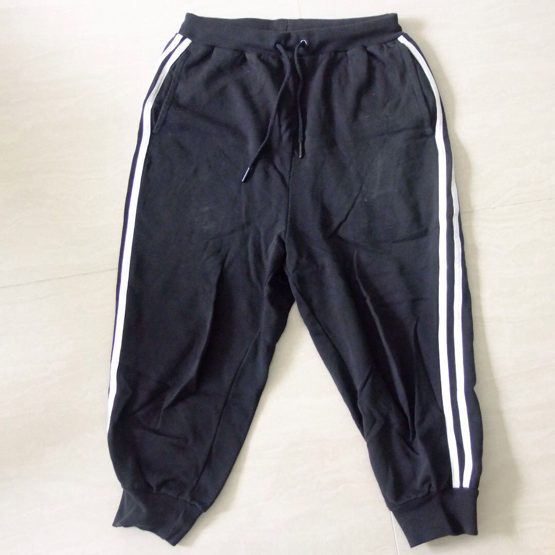 Black Tracksuit Pants / Joggers with White Stripes