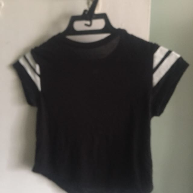 Black with white stripes crop top