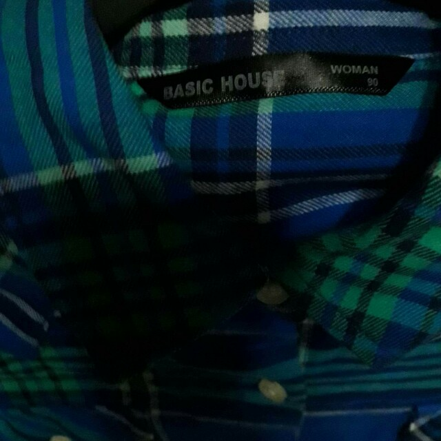 Blue and green plaid longsleeves polo