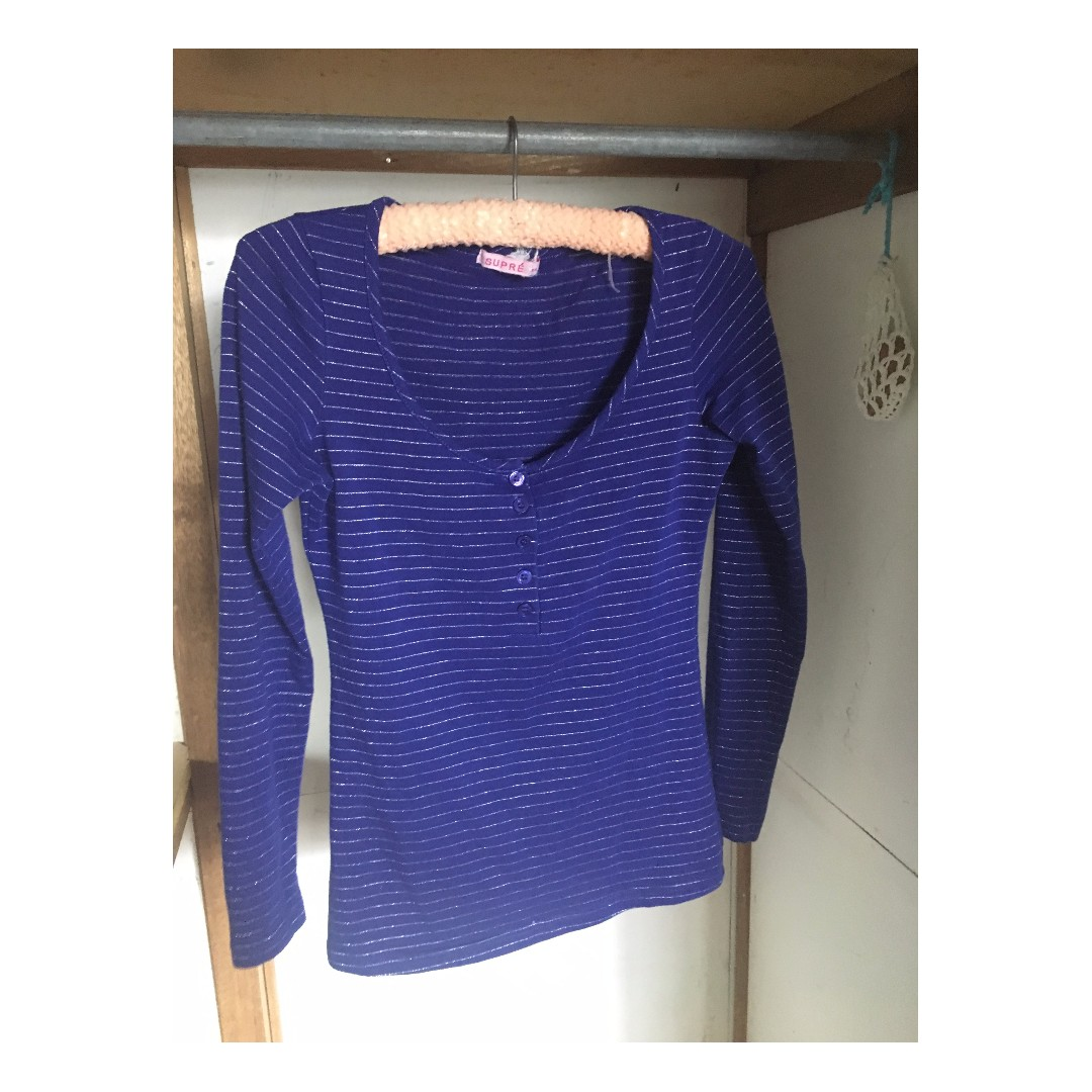Blue and silver striped long sleeve supre top with buttons xs