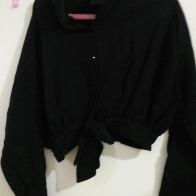 Bomber crop tee hitam fit to xl