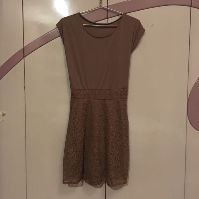 Brown Dress with Ribbon