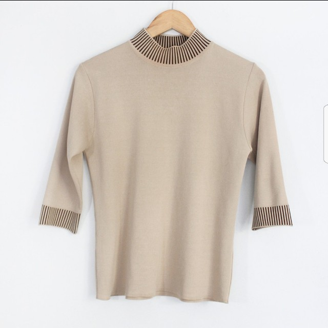 Brown Stretch Turtle Neck Blouse