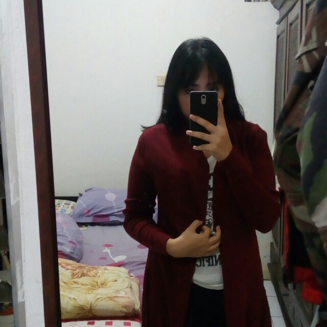 Cardigan long red