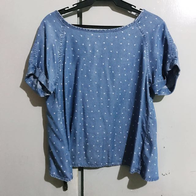 Chambray Polka Dot Top - Small