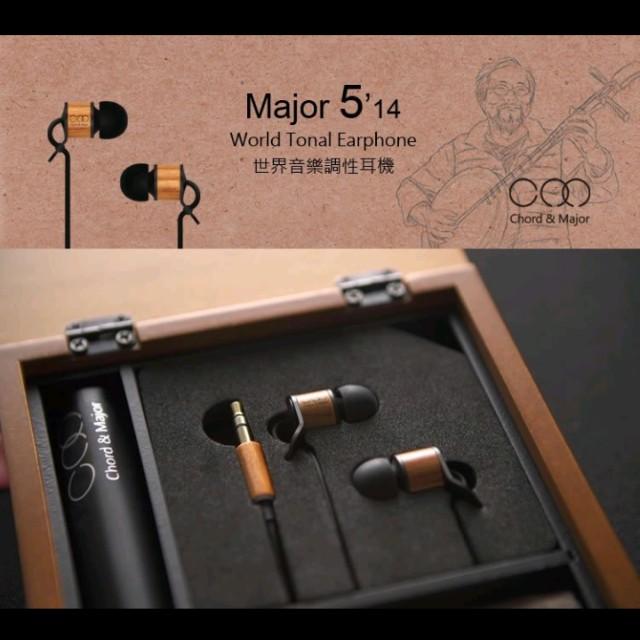 Chord&Major Major5'14 耳道式立體聲耳機  9.9新 原買3500