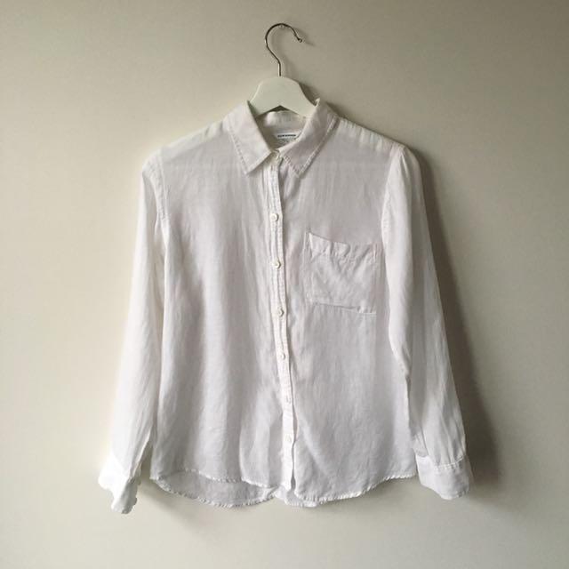 Club Monaco linen dress shirt size xs