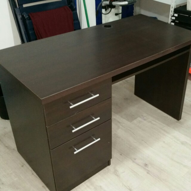 computer table for home - black wood triple drawer + tongue