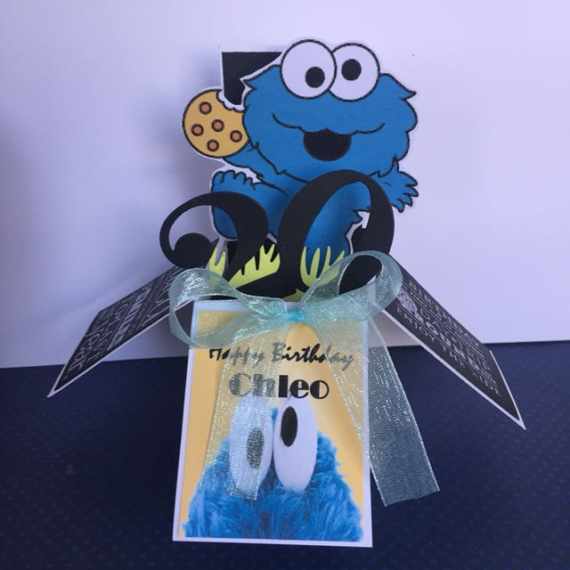 Cookie Monster Birthday Box Card In Blue Design Craft Others On