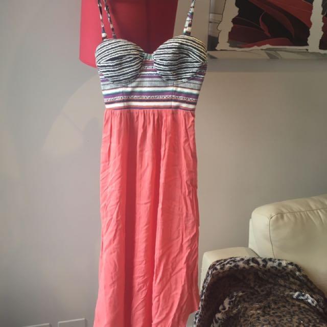 Coral Aztec dress