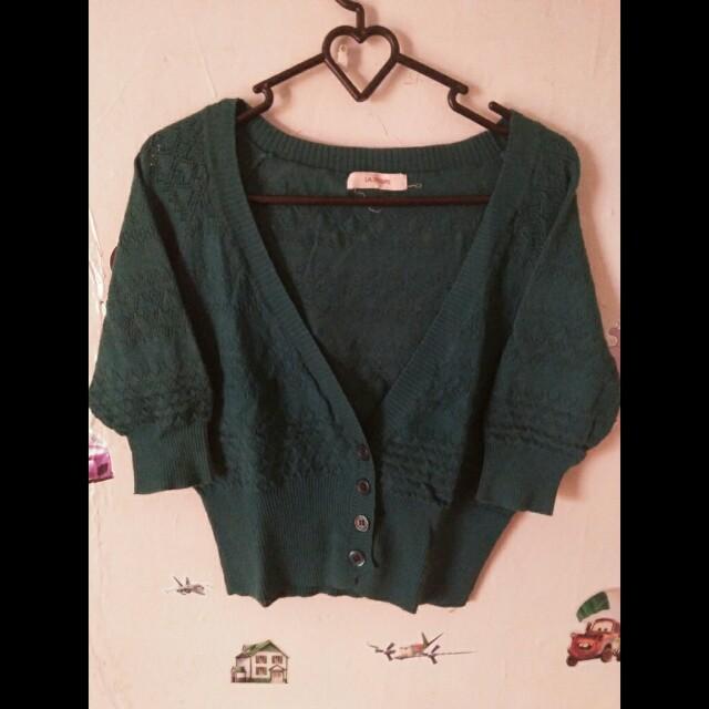 crop cardigan hijau