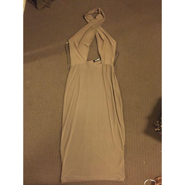 Cross-front Khaki Dress