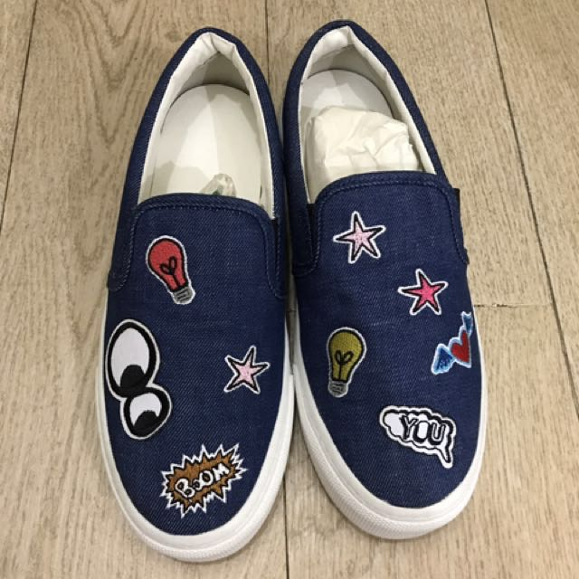 Dijual sepatu zara original blue jins patch