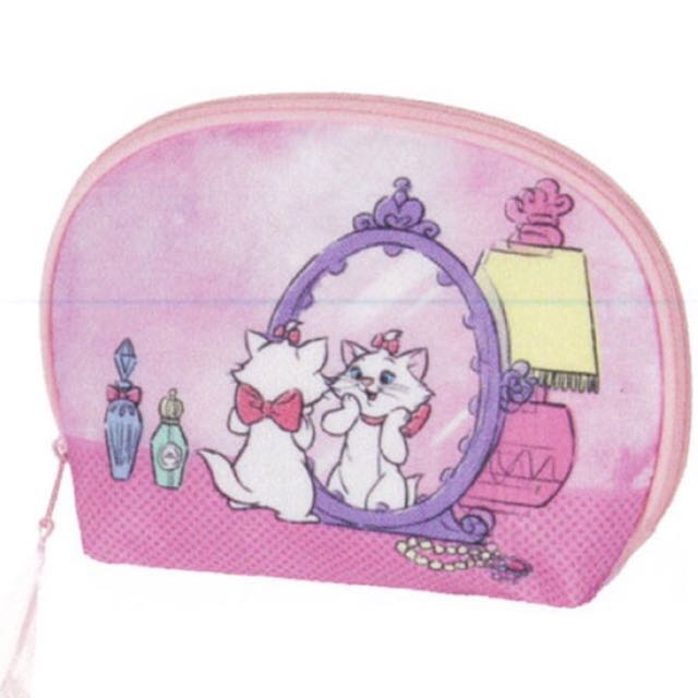 Disney 瑪麗貓粉紅半圓化妝包