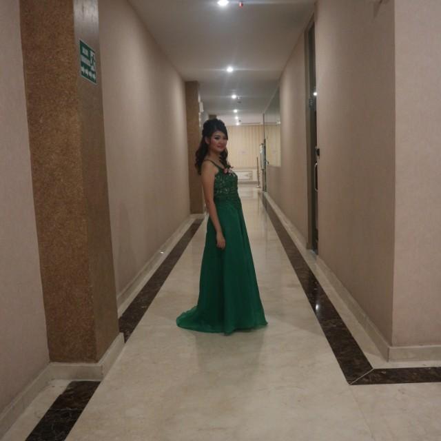 dress hijau baju pesta bisa rombak besar kecil size M NO NEGO