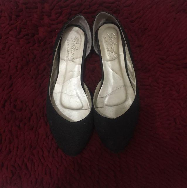 flat shoes black gliter