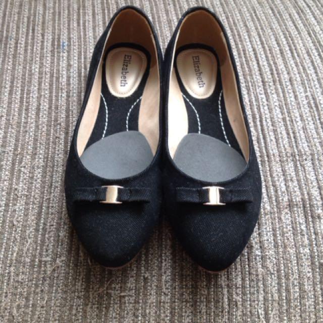Flat shoes hitam / sepatu wanita hitam black elizabeth