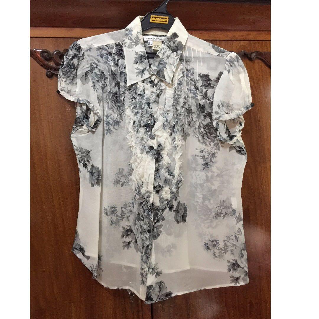 flower seetrough blouse