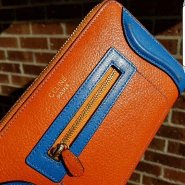 Genuine Leather Bright Orange & Blue Celine Paris Wallet Excellent condition genuine leather replica Céline