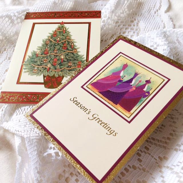 [Hallmark Set Of 2] Three Wise Men - Embossed Christmas Greeting Cards.