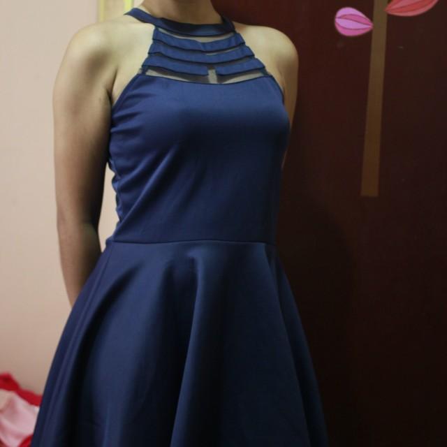Halterneck mesh dress