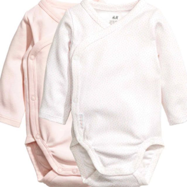 0c74a16ca H&M Long Sleeved Body Suit (2 Pack), Babies & Kids, Babies Apparel ...