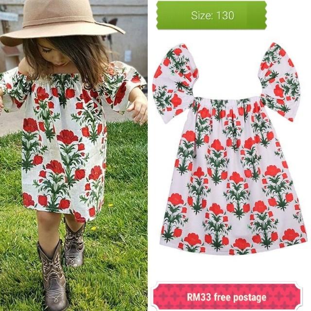 Kids girl floral off shoulder dress