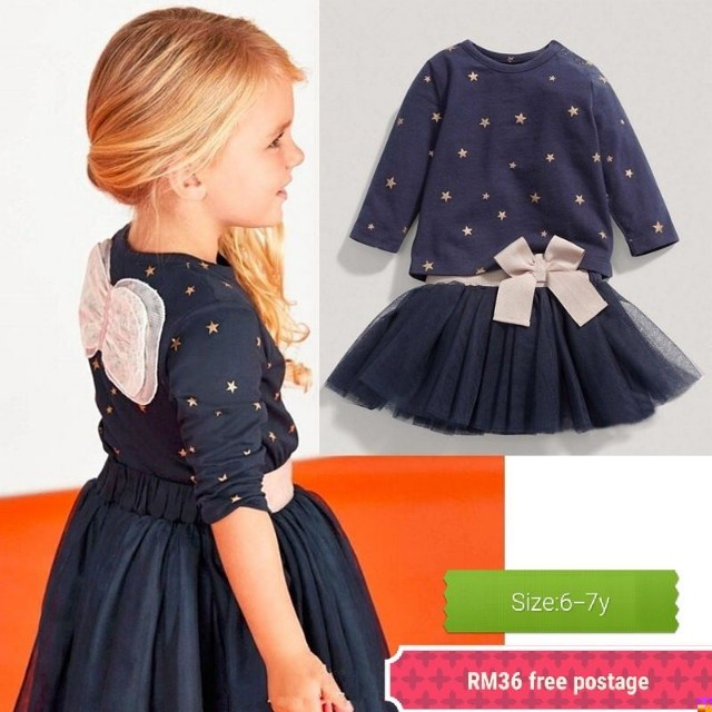 Kids girl little princess star wing tutu dress