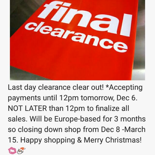 Last Day Clearance Clear Out!