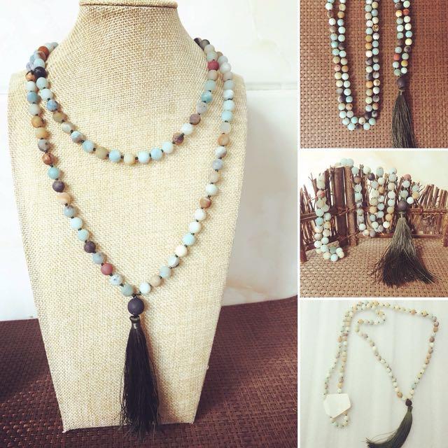 Long Amazonite necklace 108 stone mala tassel