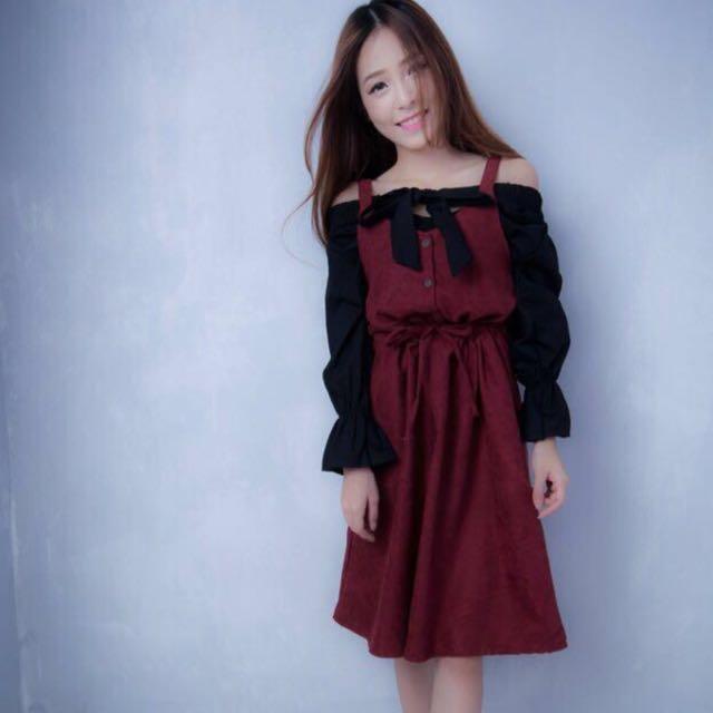 Maroon pinafore dress
