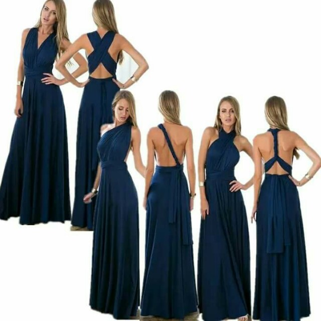 Navy Blue Infinity Gown/Dress With Slit