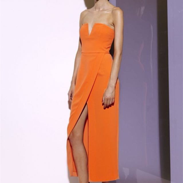 Orange Strapless Dress